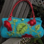 Felted Floral Knit Bag